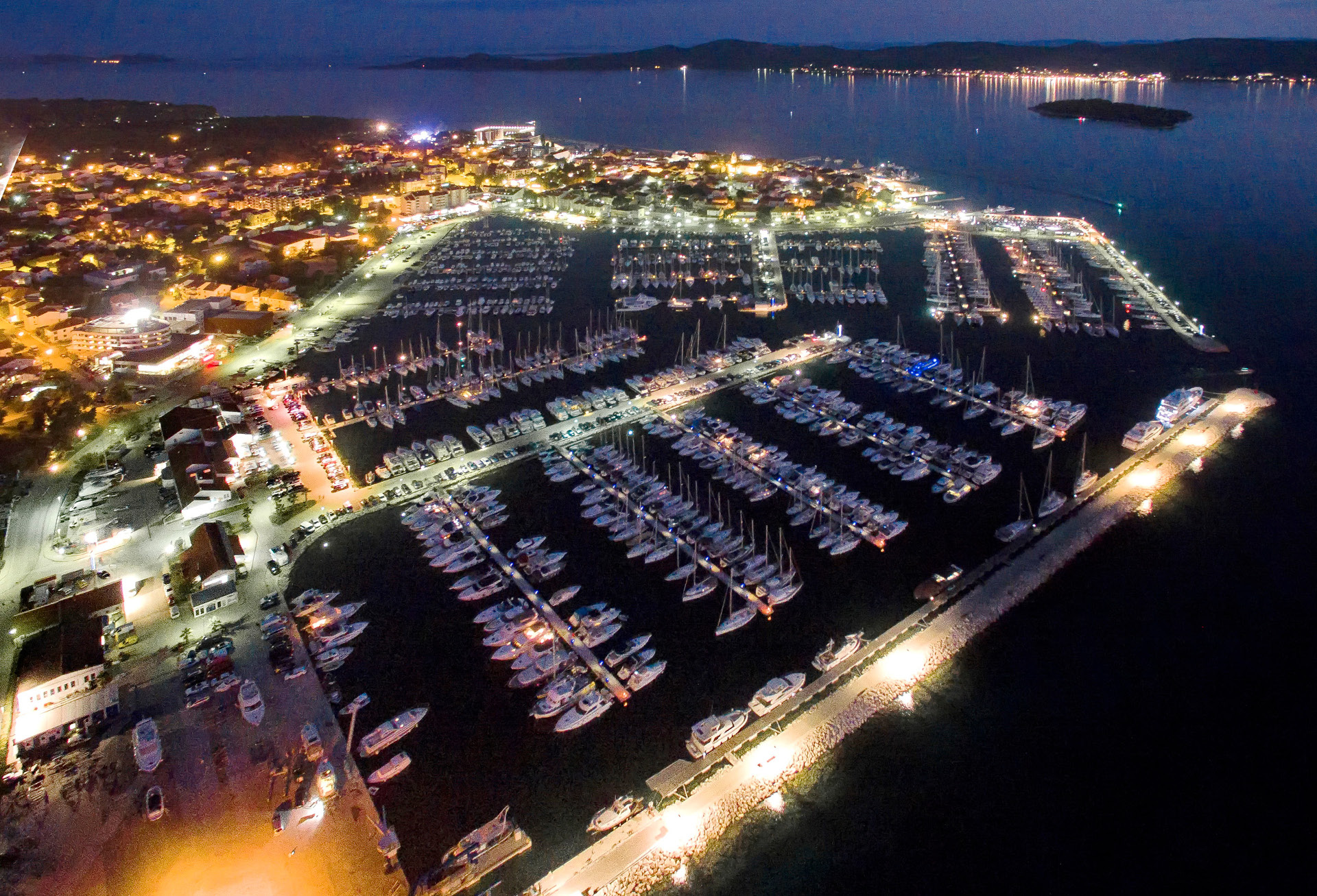 Biograd at night